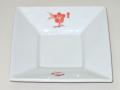 九谷焼 和陶房 3.5号角皿/小皿 豆皿/  赤桜花  辺10.5×高2.3cm