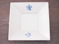 九谷焼 和陶房 3.5号角皿/小皿 豆皿/  染桜花  辺10.5×高2.3cm