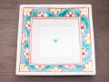九谷焼 和陶房 3.5号角皿/小皿 豆皿/  渕帯梅文  辺10.5×高2.3cm