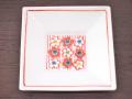 九谷焼 和陶房 3.5号角皿/小皿 豆皿/  見込紅白梅文  辺10.5×高2.3cm