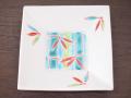 九谷焼 和陶房 3.5号角皿/小皿 豆皿/  見込竹に笹  辺10.5×高2.3cm
