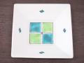 九谷焼 和陶房 3.5号角皿/小皿 豆皿/  見込市松色絵  辺10.5×高2.3cm
