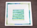 九谷焼 和陶房 3.5号角皿/小皿 豆皿/  見込色絵緑十草  辺10.5×高2.3cm