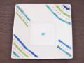 九谷焼 和陶房 3.5号角皿/小皿 豆皿/  斜め線文  辺10.5×高2.3cm
