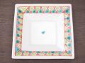 九谷焼 和陶房 3.5号角皿/小皿 豆皿/  渕幾何文  辺10.5×高2.3cm
