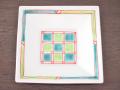 九谷焼 和陶房 3.5号角皿/小皿 豆皿/  色絵格子  辺10.5×高2.3cm