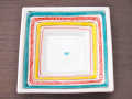 九谷焼 和陶房 3.5号角皿/小皿 豆皿/  色絵四角文(赤入り)  辺10.5×高2.3cm
