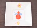 九谷焼 和陶房 3.5号角皿/小皿 豆皿/  赤瓢箪  辺10.5×高2.3cm