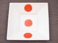 九谷焼 和陶房 3.5号角皿/小皿 豆皿/  赤丸針彫  辺10.5×高2.3cm