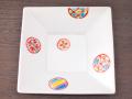 九谷焼 和陶房 3.5号角皿/小皿 豆皿/  赤丸小紋  辺10.5×高2.3cm