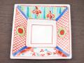 九谷焼 和陶房 3.5号角皿/小皿 豆皿/  赤呉須  辺10.5×高2.3cm