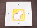 九谷焼 和陶房 3.5号角皿/小皿 豆皿/  見込瓢箪  辺10.5×高2.3cm