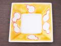 九谷焼 和陶房 3.5号角皿/小皿 豆皿/  黄釉瓢箪文  辺10.5×高2.3cm