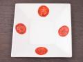 九谷焼 和陶房 3.5号角皿/小皿 豆皿/  四方赤丸寿字針彫  辺10.5×高2.3cm