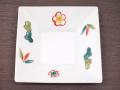 九谷焼 和陶房 3.5号角皿/小皿 豆皿/  渕に松竹梅  辺10.5×高2.3cm