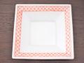 九谷焼 和陶房 3.5号角皿/小皿 豆皿/  赤渕七宝文  辺10.5×高2.3cm