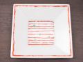 九谷焼 和陶房 3.5号角皿/小皿 豆皿/  赤い糸に緑点  辺10.5×高2.3cm