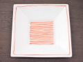 九谷焼 和陶房 3.5号角皿/小皿 豆皿/  赤い糸  辺10.5×高2.3cm
