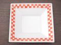 九谷焼 和陶房 3.5号角皿/小皿 豆皿/  赤渕市松  辺10.5×高2.3cm