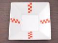 九谷焼 和陶房 3.5号角皿/小皿 豆皿/  十字市松  辺10.5×高2.3cm