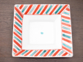 九谷焼 和陶房 3.5号角皿/小皿 豆皿/  渕赤緑斜線紋  辺10.5×高2.3cm