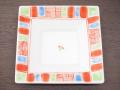 九谷焼 和陶房 3.5号角皿/小皿 豆皿/  渕赤小紋 黄緑  辺10.5×高2.3cm
