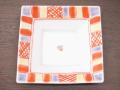 九谷焼 和陶房 3.5号角皿/小皿 豆皿/  渕赤小紋 紫  辺10.5×高2.3cm