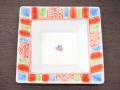 九谷焼 和陶房 3.5号角皿/小皿 豆皿/  渕赤小紋 青  辺10.5×高2.3cm
