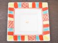 九谷焼 和陶房 3.5号角皿/小皿 豆皿/  渕赤小紋 黄  辺10.5×高2.3cm
