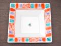 九谷焼 和陶房 3.5号角皿/小皿 豆皿/  渕赤小紋 緑  辺10.5×高2.3cm