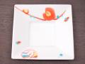 九谷焼 和陶房 3.5号角皿/小皿 豆皿/  色絵椿に紙風船  辺10.5×高2.3cm