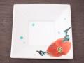 九谷焼 和陶房 3.5号角皿/小皿 豆皿/  赤椿  辺10.5×高2.3cm