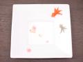九谷焼 和陶房 3.5号角皿/小皿 豆皿/  桜に金魚  辺10.5×高2.3cm