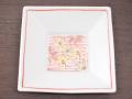 九谷焼 和陶房 3.5号角皿/小皿 豆皿/  見込赤線に菊  辺10.5×高2.3cm