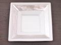 九谷焼 和陶房 3.5号角皿/小皿 豆皿/  四角帯銀箔  辺10.5×高2.3cm