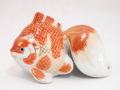 九谷焼 4.5号金魚 紅白金襴