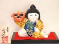 九谷焼 5号獅子舞人形 青九谷