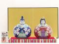九谷焼陶幸 雛人形 紺赤桜紋 3号 玉雛