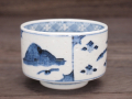 九谷焼 和陶房 独楽形湯呑 割取山水 染付
