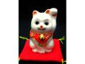 九谷焼 2号招き猫 白盛