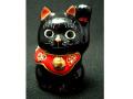 九谷焼 2号招き猫 黒ヌリ