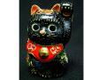 九谷焼 2号招き猫 黒盛