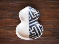豆皿 瓢箪 染付地紋 /小皿 豆皿 吉祥紋古典絵変り/九谷焼 和陶房/幅6.9×奥8.9×高1.2cm