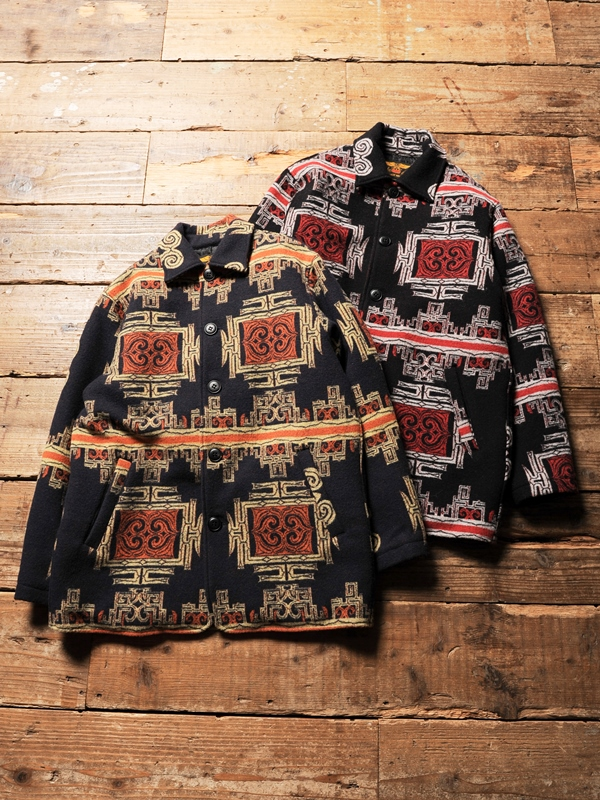 CALEE   「TRIPLE JACQUARD JAPANESE TRADITIONAL PATTEN HALF COAT」  ジャガードメルトン ハーフコート