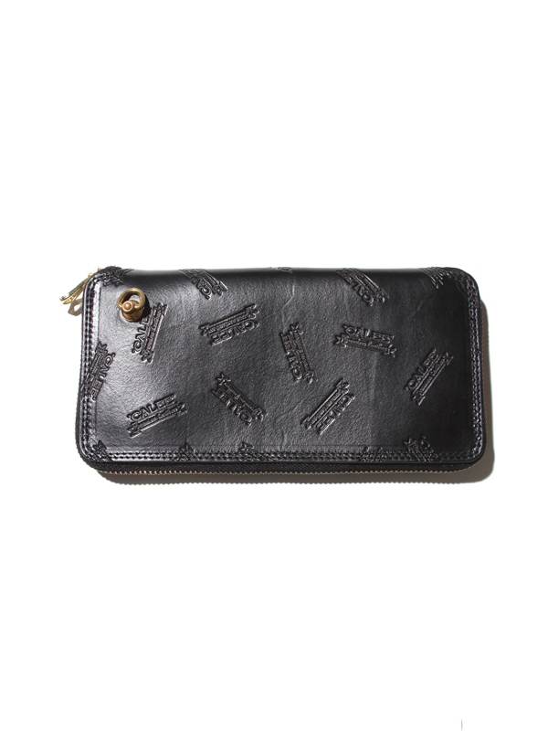 CALEE  「ALLOVER  EMBOSSING LEATHER ROUND ZIP LONG WALLET 」 レザーウォレット