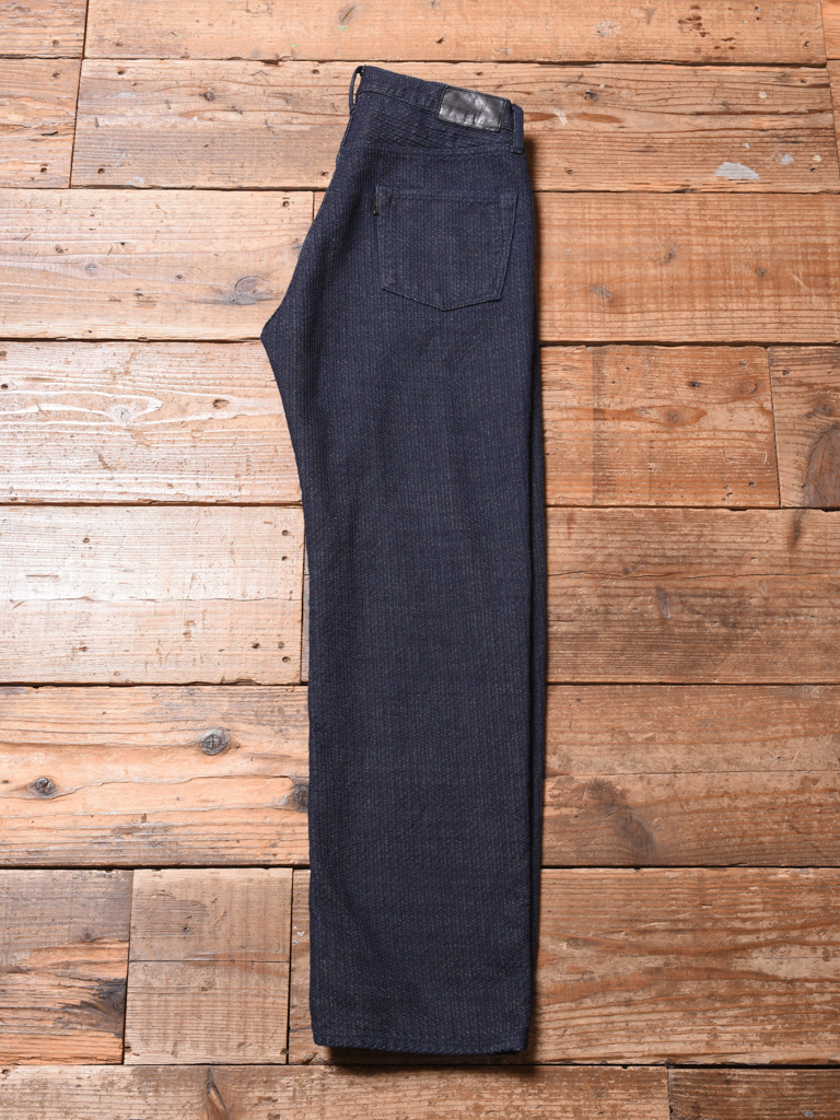 CALEE  「STITCHED JACQUARD FIVE POCKET PANTS」  刺し子デニムパンツ