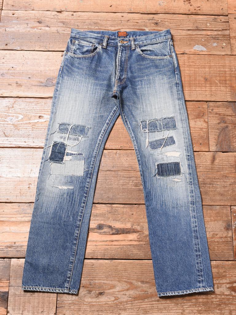 CALEE  「CRASH REPAIR TAPERED SLIM DENIM PANTS」 USED加工 テーパードスリムデニムパンツ