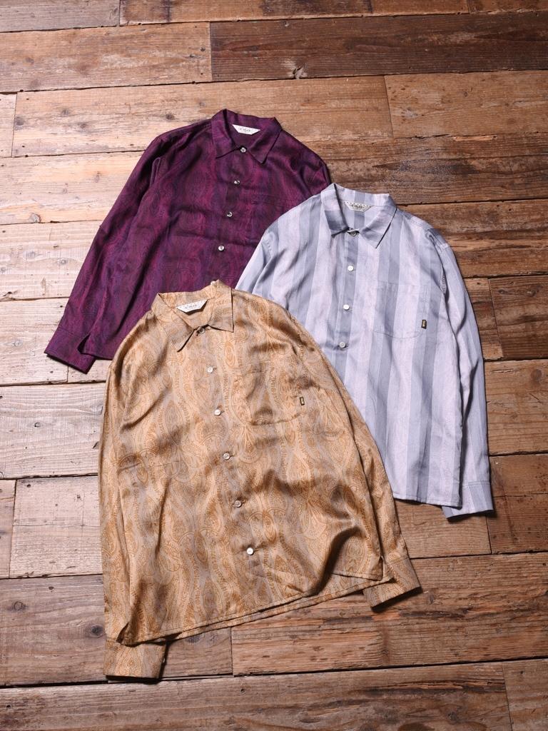 CALEE  「 SATIN PAISLEY STRIPE L/S SHIRT  」    サテンペイズリー ストライプシャツ