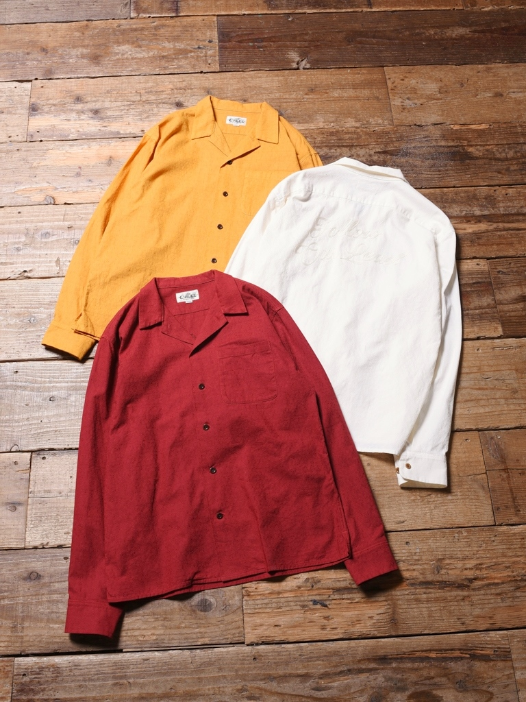 CALEE  「 EMBROIDERY L/S SHIRT 」    オープンカラーシャツ