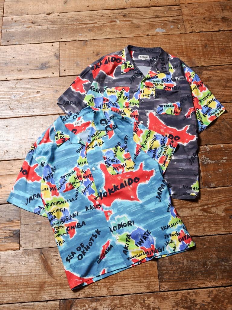 CALEE  「JAPAN MAP PATTERN S/S SHIRT」    オープンカラーシャツ